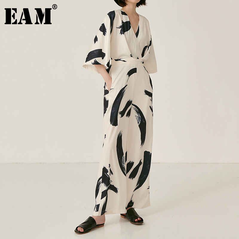 [EAM] Loose Fit Women Pattern Printed Long  Jumpsuit New High Waist Pocket Stitch  Pants Fashion Tide Spring Autumn 2020 JZ053