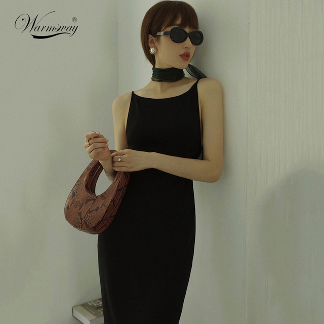 Black Sexy Dress Spaghetti Strap Female Party Dresses For Women Summer Bodycon Skinny Knitted Dress C-104 1