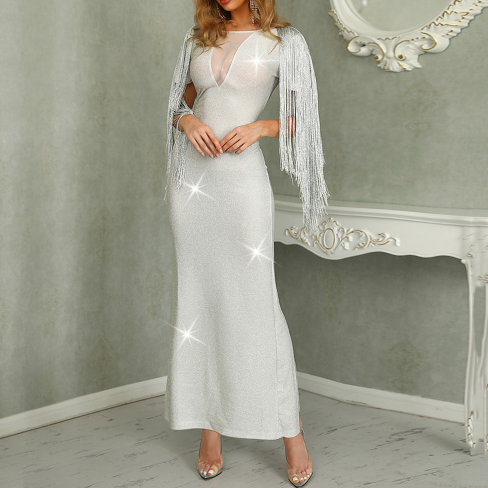 Silver Evening Dresses Sexy Elegant Tassel Scoop Neck Short Sleeves Ankle Length Long Party Formal Mermaid Evening Dress