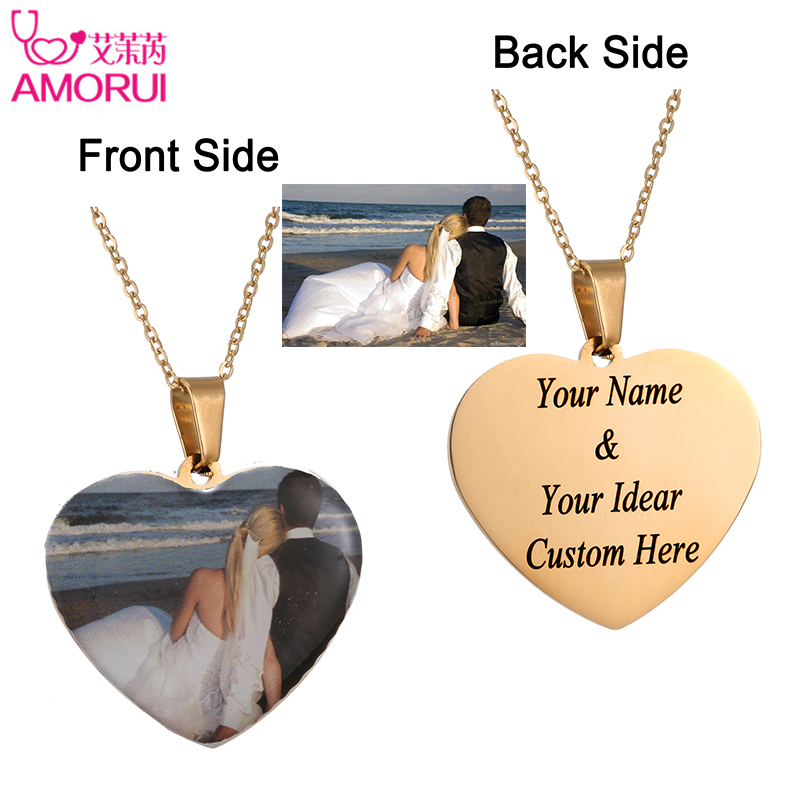 Custom Photo Initial Letter Heart Necklace Personalized Any Photo Name Silicone Necklaces Customized Nameplate Jewelry 15pcs