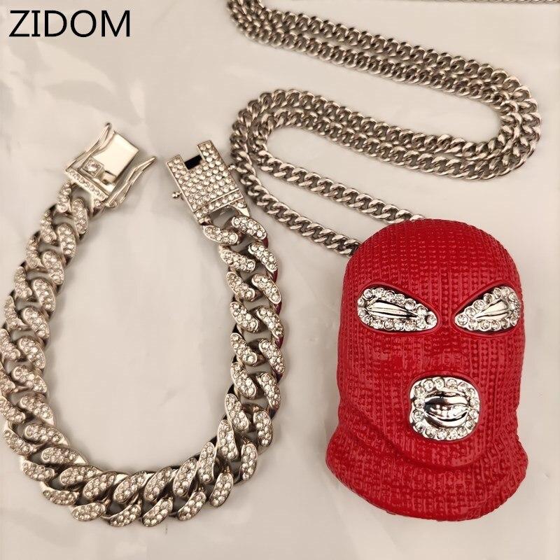 Männer Hip hop iced out bling maske anhänger und kubanischen armband für 1 set männlichen vintage Hiphop halskette mode schmuck