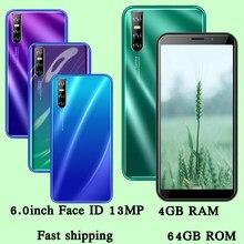 13MP 9C Face id Android czterordzeniowy 4GB RAM 64GB ROM globalne telefony komórkowe 6.0 calowy ekran odblokowany smartfony telefony komórkowe celulares