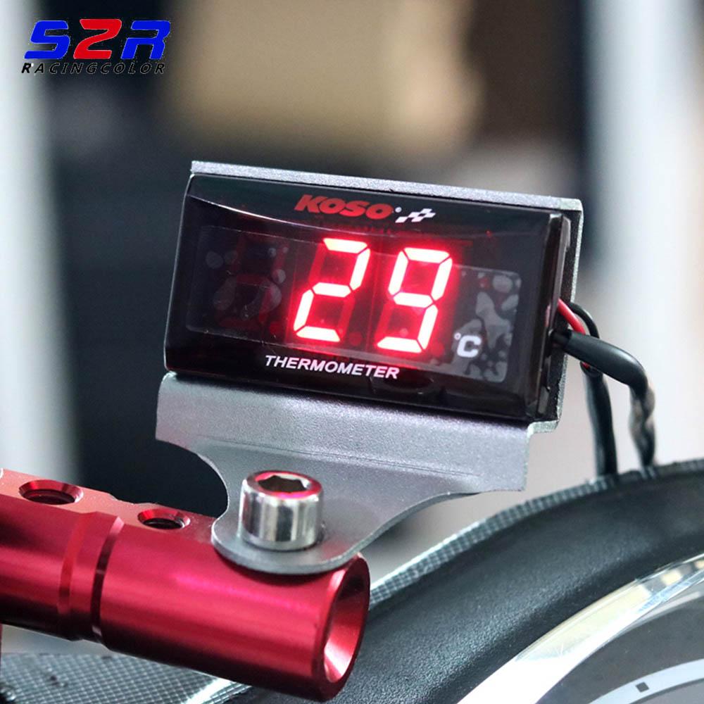 Waterproof 12 V Motorcycle Digital Thermometer Moto LED Engine Water Temperature Instrument pyrometer Alarm Gauge Meter bande réfléchissante scooter orange pour fourche