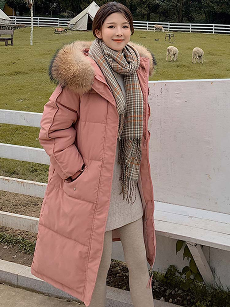 Jacket Coat Parka Fur-Collar Hooded-Down Loose Warm Vielleicht Long Women Ladies Winter
