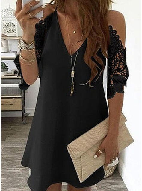 Women's Lace Splicing Dress V-neck Off Shoulder Sling Mini Dress Solid Color Casual  Hollow out Sleeve Dress 5