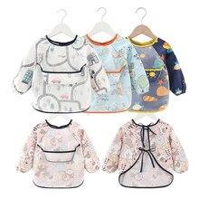 Babador do bebê impermeável avental manga longa arte blusa para crianças proteção no peito alimentação babadores
