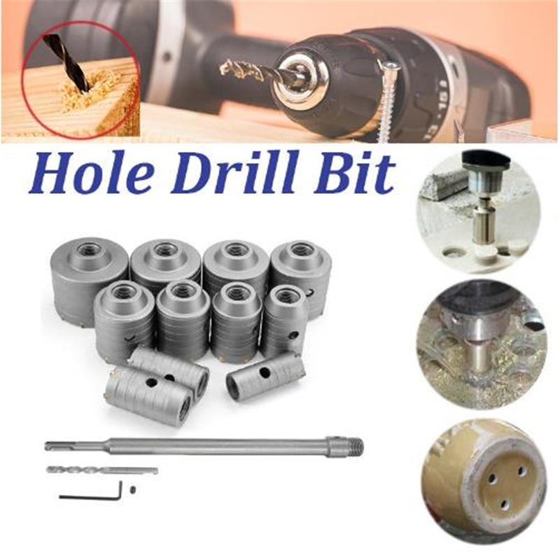 Round Rod 350mm Concrete Drill Hole Saw Cutter Air Conditioner Wall Puncher 30-80mm Hole Drill Bit