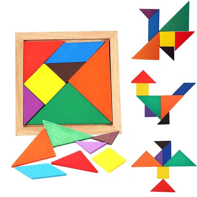 Quebra-cabeça de madeira placa brinquedos de matemática para crianças tangram cérebro teaser crianças puzzle brinquedos jogo educação cubos montessori presentes