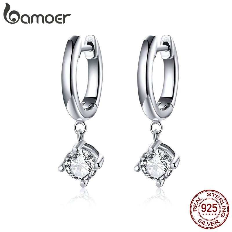 BAMOER Silver Earrings 925 Sterling Silver Clear CZ Tiny Drop Earrings For Women Wedding Jewelry Gifts Argent Brincos SCE553