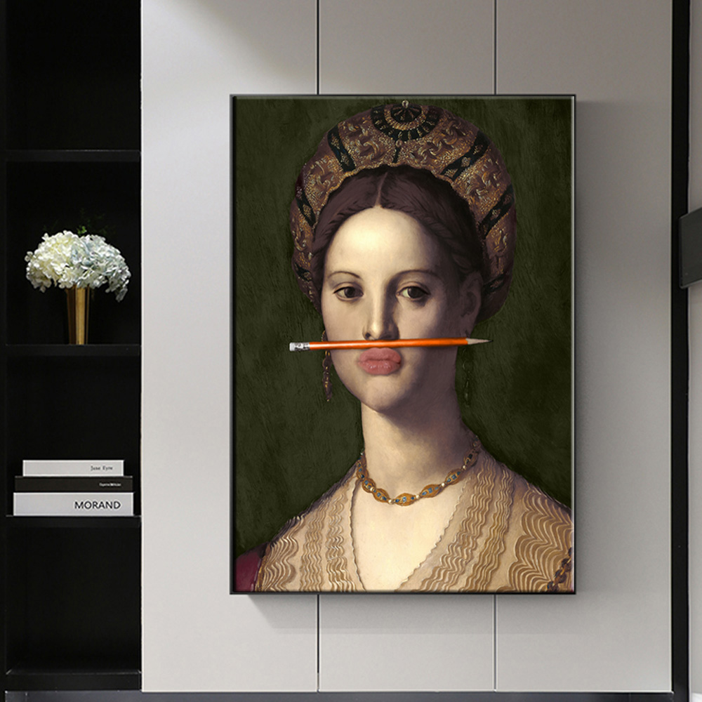 Classical European Oil Woman Canvas Fun Lips Pen Paintings Wall Abstract Landscape Wall Art Prints Posters Pictures Home Decor