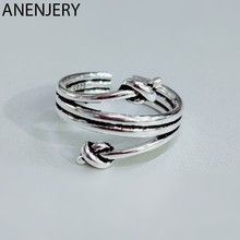ANENJERY Fashion Mutil Layers Knot Thai Silver Ring 925 Sterling Silver Vintage Open Size Ring For Women Jewelry Gifts S-R535(China)