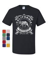 California Republic Flag T Shirt CA Cali State Grizzly Bear Star Tee Shirt Fashion Style Men Tee,Hip Hop Tee Shirt