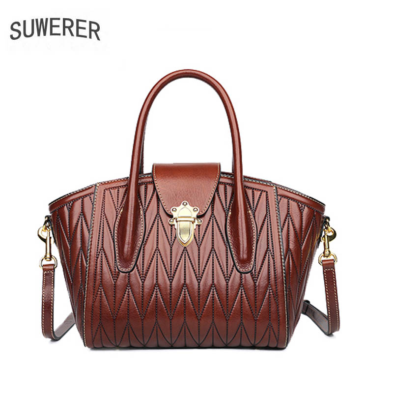 SUWERER 2019 new genuine leather bag for women leather handbag for women leather shoulder bag for women in Top Handle Bags from Luggage Bags