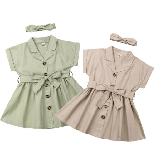 2020 Baby Girls Summer Party Dress Short Sleeve Bow Tie Belt Dress Headband Summer Outfits Set Casual Sundress For Girls 2-7T