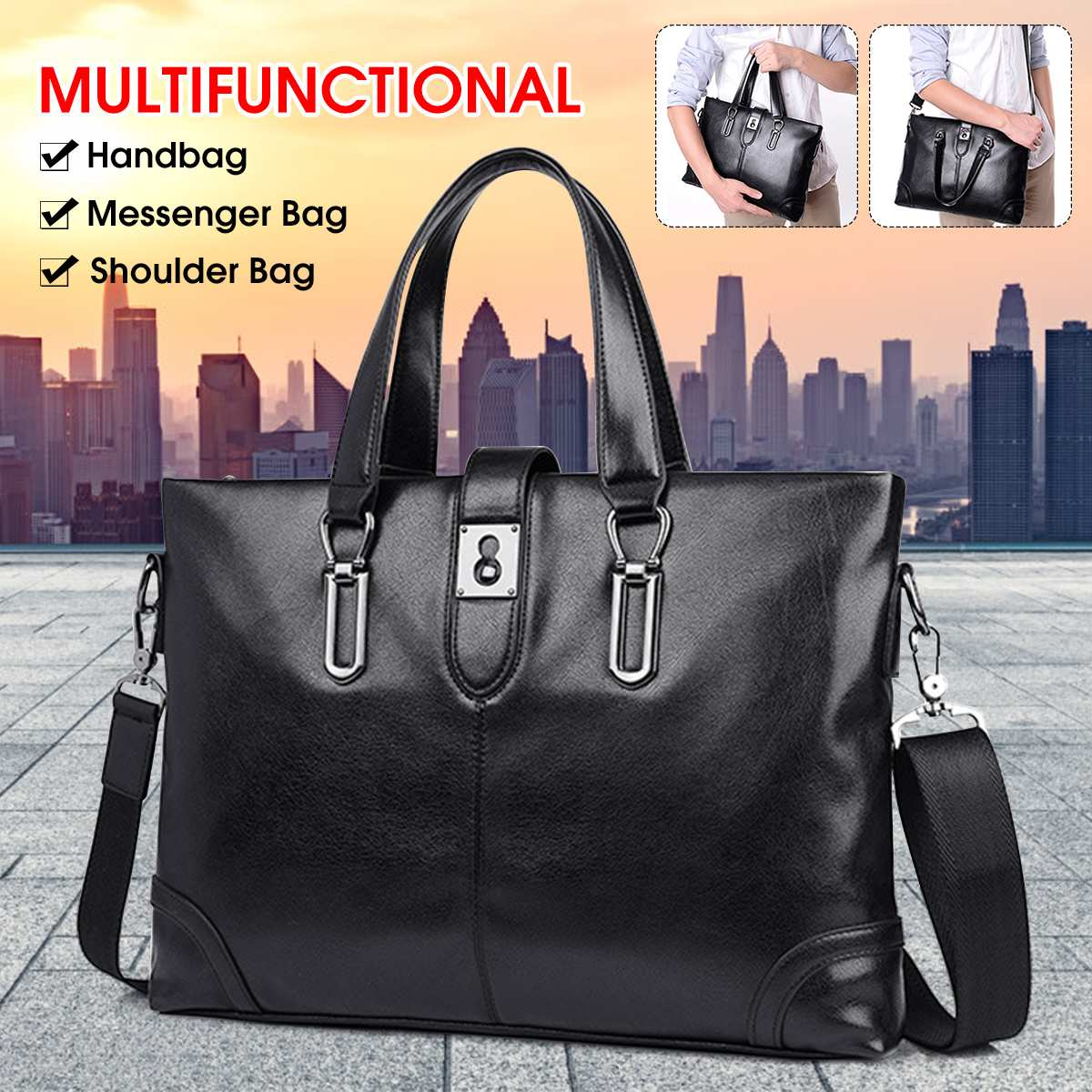 Retro Men PU Leather Black Briefcase Business Handbags Messenger Bags Male Vintage Shoulder Bag Large Capacity Laptop Bag