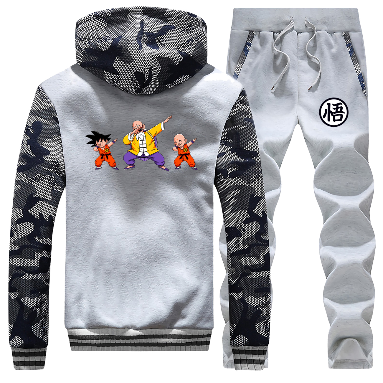 Japanese Anime Dragon Ball Z Camo Sweatshirt Men Saiyan Fleece Sportswear Hoodies Pants Sets Men Plus Size Hip Hop Streetwear