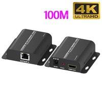 4K 100M extensor HDMI RJ45 Ethernet Port a HDMI extensor HDMI Cable de extensión gato 5e 6 Cat6 Cable de red Cable de vídeo convertidor
