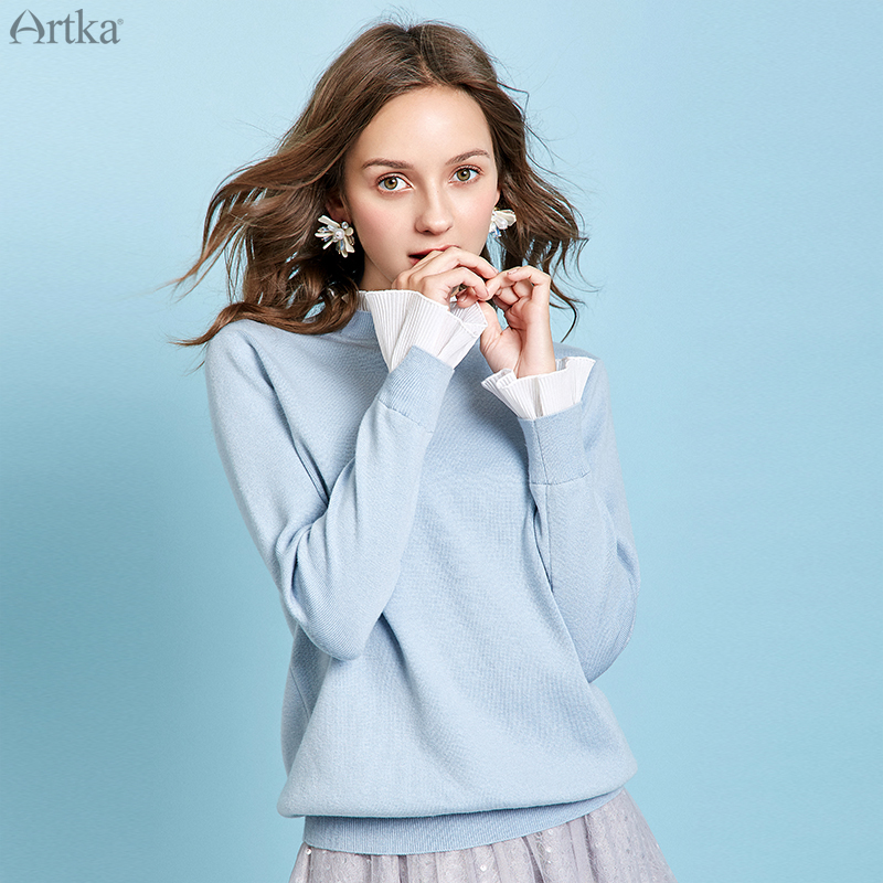 ARTKA 2019 Winter New Women 3 Colors Elegant Ruffled O-Neck Wool Sweater Fake Two Piece Pullover Flare Sleeve Sweaters YB11199D