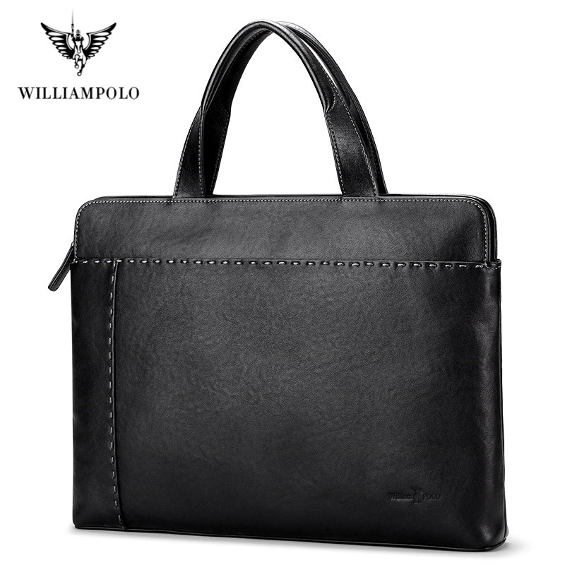WilliamPolo Men's Genuine Leather Briefcase Business Laptop Handbags Male Crossbody Shoulder Bag Cow Leather Notebook Briefcases