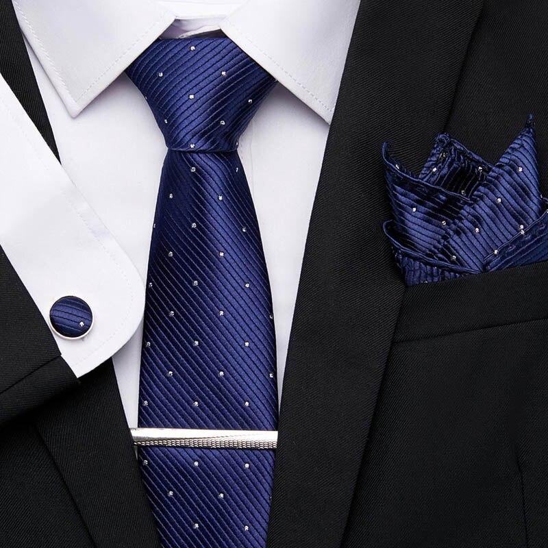 20 Style Men Tie 100%Silk Classic Tie Handkerchief Cufflinks Tie Clips Set  For Men Wedding Business Party 7.5cm Suit Tie 12601