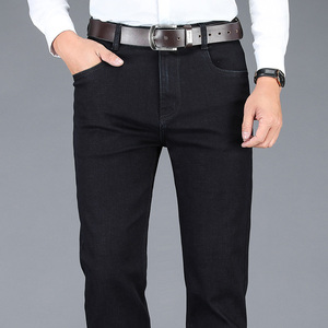 Image 4 - 2020 yeni sonbahar kış erkek streç kot iş rahat klasik tarzı pantolon siyah gri düz kot pantolon erkek marka