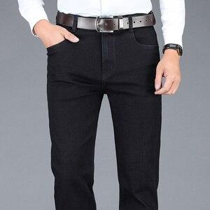 Image 4 - 2020 新秋冬メンズストレッチジーンズビジネスカジュアル古典的な風のズボン、黒グレーストレートデニムパンツ男性ブランド