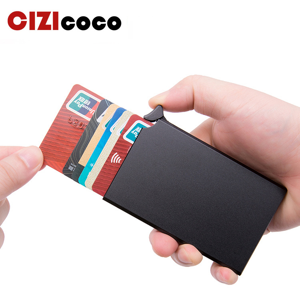 RFID Anti-theft Smart Wallet Thin ID Card Holder Unisex Automatically Solid Metal Bank Credit Card Holder Business Mini