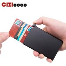 Cartera inteligente antirrobo RFID soporte de tarjeta de identificación Delgado Unisex automáticamente soporte de tarjeta de crédito de Metal sólido negocios Mini