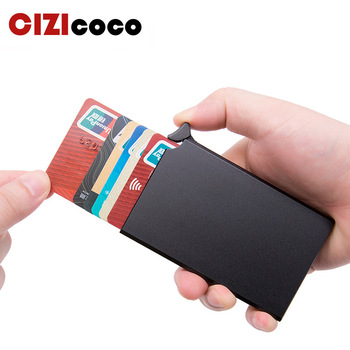 RFID Anti-theft Smart Wallet Thin ID Card Holder Uni Automatically Solid Metal Bank Credit Card Holder Business Mini