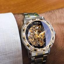 Wrist-Watch Mechanical Movement Skeleton Diamond Winner Luminous-Gear Transparent Royal-Design