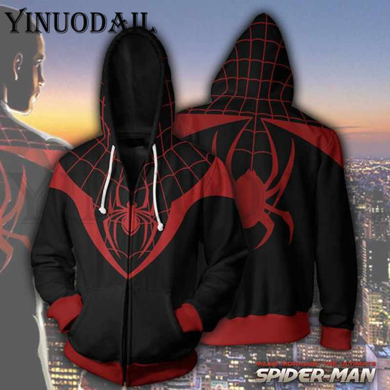Avengers Spiderman Superheld Herfst Nieuwe Casual Venom Unisex Rits Hoodies Top Sweater Jas Jas