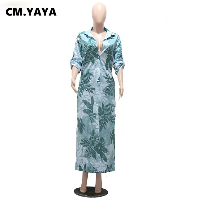 CM.YAYA Women Dress Half Sleeve Turn-down Collar Single Breasted Loose Straight Long Dress Office Lady Street Fashion Outfit 3