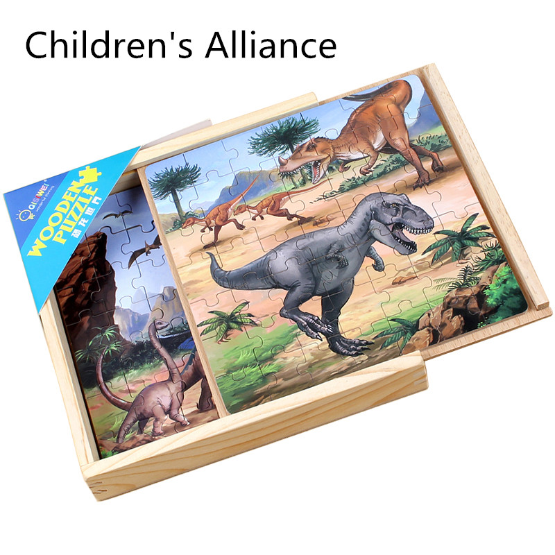 Animal Puzzles Set Kids Dinosaur World Jigsaw Puzzles Tyrannosaurus Rex Wooden Toys Children Early Learning Education Toys