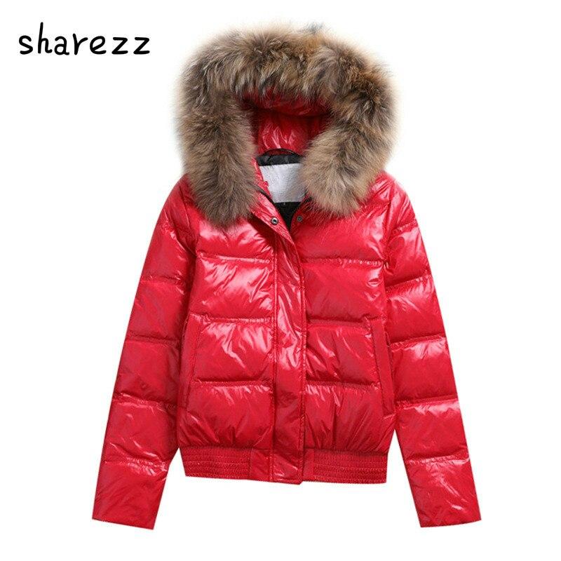 Hooded Real Raccoon Fur Winter Jacket Women Long Sleeve Slim White Duck   Down   Parkas   Coat   Female Zipper Pockets Outwear