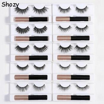 Shozy Magnetic Eyelashes and Eyeliner Set 5 Magnet Natural Long Magnetic False Eyelashes with Magnetic Eyeliner long false eyelashes set 5 pair