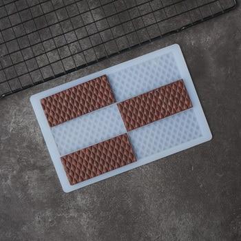 Molde de silicona para Chocolate, forma de barra, patrón de escala de pescado, forma de raya, decoración, hoja de transferencia, molde para torta, decotación superior