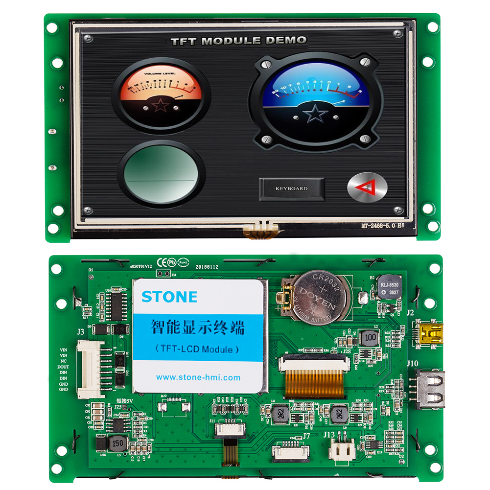 STONE 5.0 Inch 480x272 Resoulution Resistive TFT LCD Touch Screen with Serial Interface+Software for Medical Machine image