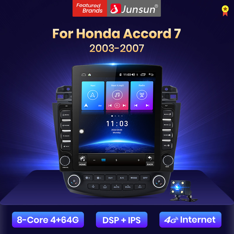 Junsun V2 Pro Style Vertical 4G + 64G CarPlay DSP pour Honda Accord 7 2003-2007 Android 8.1 autoradio multimédia Navigation no 2din