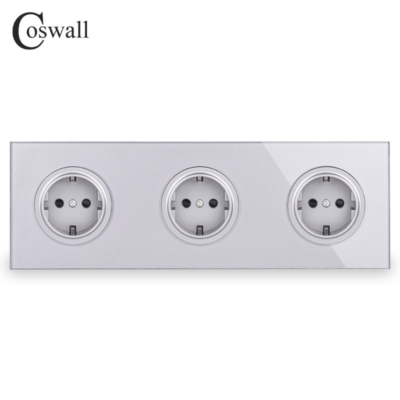 Coswall Gray Grey Crystal Tempered Glass Panel Triple EU Standard Wall Socket Grounded With Child Protective Lock R11 Series