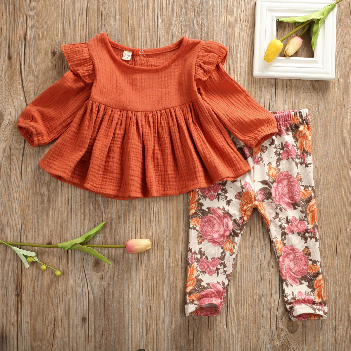 Pudcoco Toddler Baby Girl Clothes Solid Color Knitted Cotton Ruffle Tops Flower Print Long Pants 2Pcs Outfits Cotton Clothes