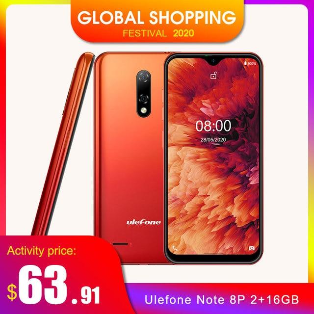 Ulefone Note 8P 4G Mobile Phone Android 10 5.5 inch 2GB 16GB MT6737 Quad Core 8MP 2700mAh Face Unlock Dual SIM Smartphone Global
