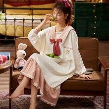 Nightwa 2020 mulheres doce rosa laço laço nó grosso macio solto casual simples feminino sleepshirt bonito nightdress mulher
