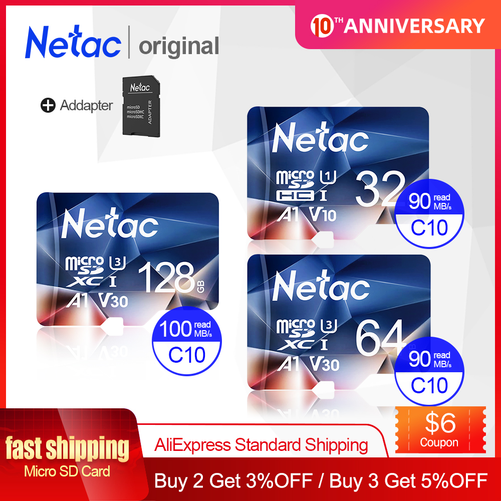 Netac Memory Card Tarjeta Micro SD Card 32GB 64GB 128GB 256GB Class 10 USB Flash Pen Drive Memory Card For Smartphone Adapter