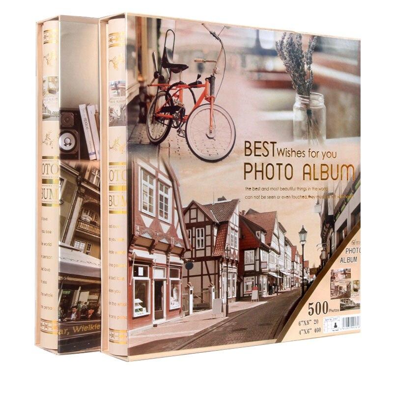 Image 4 - New Family Photo Album 6 Inch 480 Pockets 8 Inch Albums Retro  Insert Page Box 4R Photo Album Mixed Travel Family Memory RecordPhoto  Albums