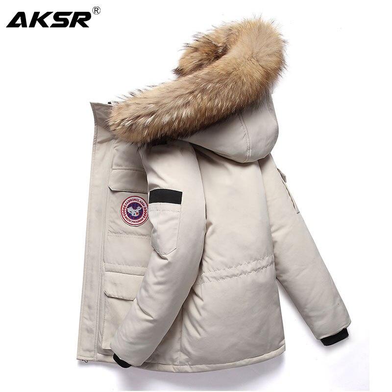 AKSR Men's Long Winter Jacket   Coat   Large Size Duck   Down   Jacket Real Fur Hooded Thick Warm Outwear Winter   Down   Jackets Doudoune