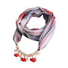 Solid color tetragonal original turquoise fabric flower Bead Chain Necklace Pendant scarf  multi-functional  pendant scarf