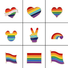 9 stijl LGBT Ontwerp Regenboog Creatieve Hart Yeh Vinger Pin Broche Metalen Pinnen Badge Denim Emaille Revers Sieraden Gift vrouwen unsix(China)