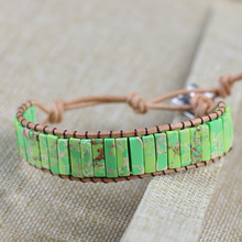 Wholesale Chakra Bracelet Jewelry Handmade Natural Stone Turquoises Bracelet Tube Beads Leather Wrap Bracelet Couples Bracelets