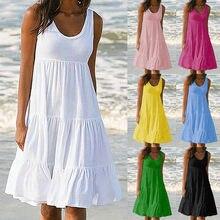 Sem mangas vestido longo moda feminina cor sólida balanço em torno do pescoço vestidos de praia feminino verão vestido casual de mujer S-2XL