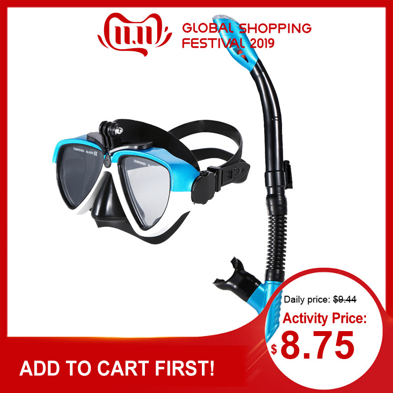 Lixada Anti-Fog Swimming Mask Scuba Diving Mask With Camera Mount Underwater Snorkel Goggle Diving Equipment For Women Men